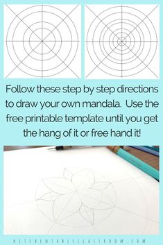 Mandalas are everywhere right now- grown up coloring books, clothing trends, and even home decor. They look fancy and super intricate but these step by step directions and free printable template make it easy to draw a mandala of your own! Easy Mandala Drawing, Mandala Art Lesson, Simple Mandala, Mandalas Drawing, Zentangles, Mandala Design, Mandala Dots, Mandala Pattern, Mandala Stencils