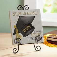 Need a unique gift? Send Believe Graduation Tile Keepsake and other personalized gifts at Personal Creations. Preschool Graduation, Graduation Cards, Believe, Graduation Gifts, Graduation Ideas, College Graduation, Graduation Announcements, Grad Parties, Savoury Cake