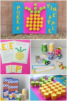 Keep the kids busy with a super fun Poke-a-Cup Pineapple Activity Board! Fill the cups with activity prompts (and a few mini surprises!). This prize cup punch game is easy to make! #ad #DixieBathCups #artsymommadotcom
