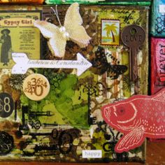 The Olive/Brown Canvas with Wood Button, collage chipboard arrow, Love Key (Tim Holtz idea-ology Word Keys), and burlap butterfly (Hope Chest by pinkpaislee) - The Four Agreements Collage - by Carla Bange