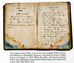 The family Bible of Charles and Caroline Ingalls, parents of Laura Ingalls Wilder, records their marriage in Jefferson County Wisconsin. My Beilke ancestors settled in Jefferson County about 1867.