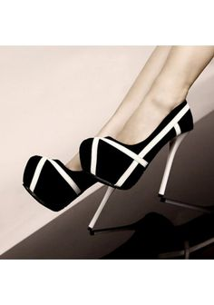 Women's Elegance High Heel Black White Patchwork Pumps Ol Style Summer Shoes