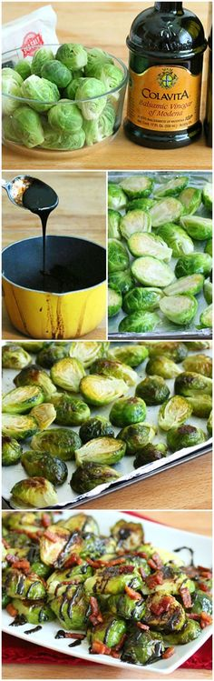 Grilled Brussels Sprouts with Bacon and Balsamic. It's healthy eating. Healthy Meals, Healthy Eating, Healthy Recipes, Side Dish Recipes, Vegetable Recipes, Sprouts With Bacon, Vegetable Side Dishes, I Love Food, Food Dishes