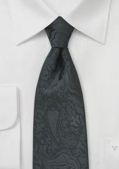 Krawatte tiefschwarz Rankenmuster