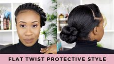 protective styles for relaxed hair Flat Twist Protective Style Protective Styles Easy, Protective Style Braids, Protective Hairstyles, Flat Twist Hairstyles, Box Braids Hairstyles, Relaxed Hairstyles, Kid Hairstyles, Black Hairstyles, Healthy Relaxed Hair