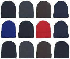 6aa8ea31b4a Details about Womens Mens Assorted Soft Warm Cozy Knit Winter Beanie Cuffed  Skull Cap Hat Gift. Caps ...
