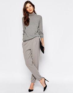 Selected - Trina - Pantalon coupe masculine avec revers côtelé