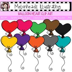 Balloon clip art - Heart - Single Image from melonheadzillustrating from melonheadzillustrating on TeachersNotebook.com (11 pages)  - Cute Balloon clip art, heart shaped. By Melonheadz!