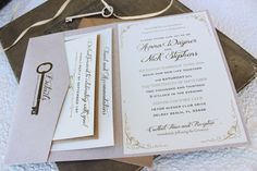 Key to My Heart Wedding Invitation Printed Pocket by beyonddesign