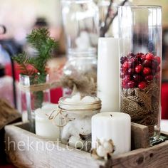 red and white wedding centerpiece - rustic