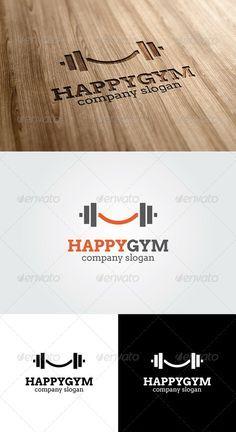 Happy Gym Logo Template - GraphicRiver Item for Sale Fitness Design, Gym Design, Fitness Logo, Logo Design, Yoga Fitness, Graphic Design, Logos Gym, Gym Logo, Logo Smile