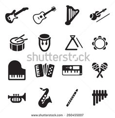 Musical Instruments Icons Stock Vector Illustration 260455007 ...