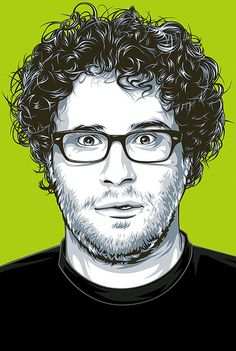 This is great! Lets start with the bg. I love the Lime green that was selected for this bg color. It makes Seth Rogen's face pop off the screen. I really love the curls that went into his hair and also the shadows around the neck and under the glasses. This is perfectly done using the colors the artist used.