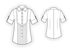Shirt  - Sewing Pattern #4269. Made-to-measure sewing pattern from Lekala with free online download. Fitted, Darts, Pleats, Buttoned, Jewel neck, Stand collar, Long sleeves, Set-in sleeves, Cuff sleeves.