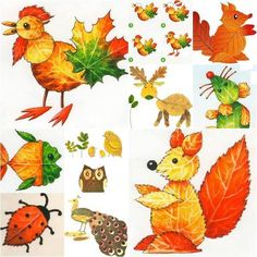 Creative Ideas on Leaf ArtHere is a group of creative stone art design that is really inspiring.Lovely ideas for kids - made from leaves in autumnCollect the leaves of all shapes around you, they are the gifts from God. Check out these super cute ani Autumn Crafts, Fall Crafts For Kids, Autumn Art, Nature Crafts, Diy For Kids, Leaf Projects, Art Projects, Leave Art, Leaf Animals