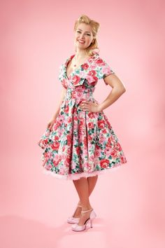 Emmy, Floral Swing Dress, 50s Style, Baby Pink, Pin-Up Style, Cheesecake Photography