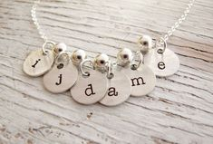 New Hand Stamped Initial Necklace Grandmother necklace