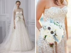 Monique Lhuillier via Brides / Jeremiah and Rachel Photography/BHLDN | gold & glitter wedding dresses | SouthBound Bride #weddingdress #sparkle