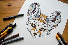 Fennek Drawing by Andreas Preis // Animal Poker // www.designerpreis.com