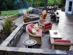 Your backyard should be an outdoor living area to enjoy. If you need privacy, install wooden fencing or large shrubs around the perimeter to create walls. Decks and patios make great sitting or dining areas when the weather's appropriate and they create a nice overflow for guests during parties.