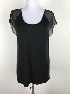 Vince Blouse Size S Black Chiffon Short Sleeves Womens Shirt Top #Vince #Blouse