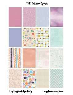 Free Printable Patterned Squares for the MAMBI Happy Planner