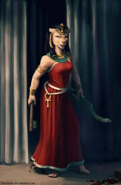 Sekhmet from the ancient egyptian pantheon. She was a goddess of warfare, protector of the pharaos and it was said the desert was created from her breat. Egyptian Cat Goddess, Egyptian Mythology, Ancient Egyptian Art, Bastet, New Champ, Mother Goddess, Lion Art, Anthro Furry, Gods And Goddesses