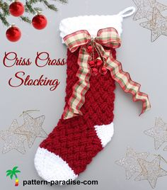Christmas Stocking pattern by Pattern Paradise. Two sizes, two cuff optionsNew Crochet Pattern - Criss Cross Crochet StockingHoliday crochet stocking in Celtic weave stitch Crochet Christmas Stocking Pattern, Crochet Stocking, Crochet Christmas Ornaments, Holiday Crochet, Christmas Knitting, Crochet Christmas Stockings, Handmade Christmas, Crochet Snowflakes, Christmas Angels