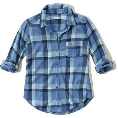 Hollister Easy Plaid Shirt ($20) ❤ liked on Polyvore featuring tops, light blue plaid, light blue plaid shirt, light blue shirt, blue plaid shirt, hollister co shirts and tartan top