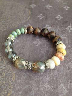 Rustic Semi Precious Beaded Boho Luxe Stretch Stacker Bracelet