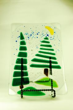 """6x9"""" Holiday Snow Glass Fusion cheese board"""