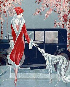 Flapper with Dog Art Deco Fashion - Venus Art Prints - Eclectic, contemporary wall art, collage, vintage posters Art Deco Posters, Vintage Posters, Vintage Art, Art Deco Illustration, Motif Art Deco, Art Deco Design, Art Nouveau, Art Deco Period, Art Deco Era