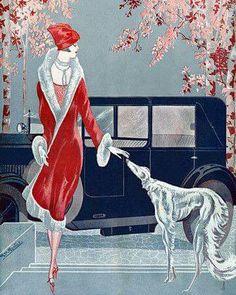 Flapper with Dog Art Deco Fashion - Venus Art Prints - Eclectic, contemporary wall art, collage, vintage posters Art Deco Illustration, Motif Art Deco, Art Deco Design, Art Deco Period, Art Deco Era, Retro Poster, Vintage Posters, Mode Vintage, Vintage Art
