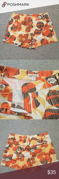 Cousin Earl bohemian clothing cactus shorts. Cousin Earl bohemian clothing cactus shorts. Retail for $88. Hawaiian inspired floral print with orange, brown, white, and yellow. 97% cotton and 3% spandex. Size 4. Perfect for Summer! If you would like modeled photos, just ask! Prices are firm. Cousin Earl Shorts Bermudas