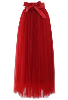 Amore Maxi Tulle Prom Skirt in Red - Skirt - Bottoms - Retro, Indie and Unique Fashion