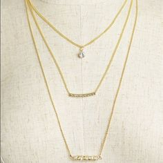 🆕 Triple Pendant Layering Necklace Gold 🛍 Bundle Discount 📫 Same/ Next Day Delivery ❌ No Trade Jewelry Necklaces
