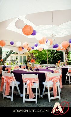 Plum Tablecloths and Coral Accents Are Perfect for Any Occasion