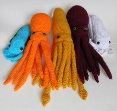 PDF Crochet Amigurumi Animal Patterns: Cephalopod Trio Bundle (Octopus, Squid and Cuttlefish)