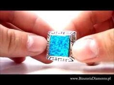 Srebrny pierścionek z syntetycznym opalem australijskim