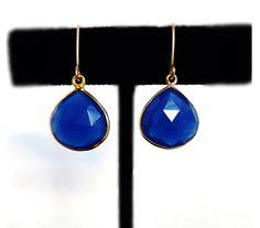 Blue Sapphire Drop Earrings - September Birthstone Earrings