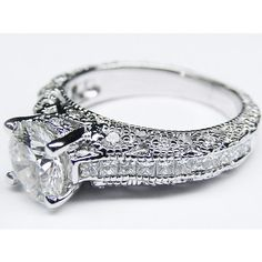 Engagement Ring - Vintage Three Side Pave Engagement Ring in 14 Karat White Gold