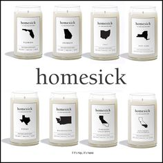"""state-scented homesick candles.   Smells are one of the strongest triggers for memories and emotions. A number of behavioral studies have demonstrated that smells trigger more vivid emotional memories and are better at inducing that feeling of """"being brought back in time"""" than images* which is what makes the state-scented Homesick candles a great gift idea."""