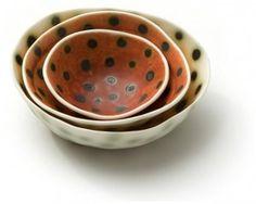 Sandra Bowkett, stack of dotty bowls