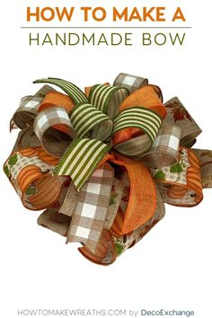 This quick tutorial will show you how to make a handmade bow for wreaths. Included is a step by step video on how to make a handmade wreath bow. Diy Bow, Diy Ribbon, Ribbon Flower, Ribbon Hair, Fabric Flowers, Hair Bows, Bow Making Tutorials, Making Ideas, Wreath Crafts