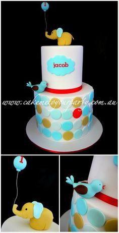 Baby Elephant Cake, so cute for a little boy's 1st birthday!:)