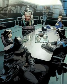 First of all Bruce turn this side Damian and Dick stop having a staring contest. Tim sit the Fuck down and Jason don't be such a baby and come here. #batgirl #barbaragordon #barbara #gordon #batman #brucewanye #bruce #wayne #nightwing #dickgrayson #dick #grayson #redhood #redrobin #robin #timdrake #jasontodd #jason #todd #tim #drake #damianwayne #damian #wayne #dc #dccomics