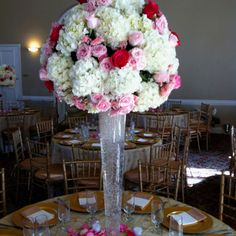 Hydregias , hot pink roses , pink roses and light pink roses- These were my wedding centerpieces!!! Thanks Casa Diris Floral Designs!!!