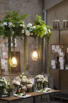 Gallery: Modern Pendant Lights over a Lush Garden Wedding Table - Deer Pearl Flowers Wedding Centerpieces, Wedding Decorations, Table Decorations, Hanging Centerpiece, Modern Centerpieces, Decor Wedding, Table Centerpieces, Flower Decorations, Diy Wedding