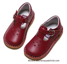 ef42735a5c3f L Amour Girls Leather T-Strap Mary Jane Shoes - Red  tstrapshoes Red