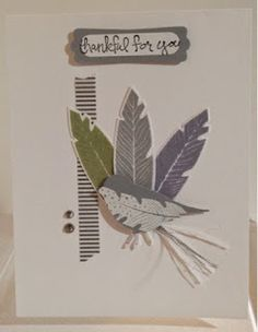 Four Feathers Bird Card